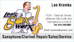 Lee Kramka's Sax Worx Business Card - Grafix by Marc Miyashiro http://www.Grafix9000.com